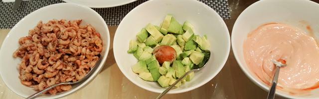 Nordseekrabben, Avocado, Cocktailsuace